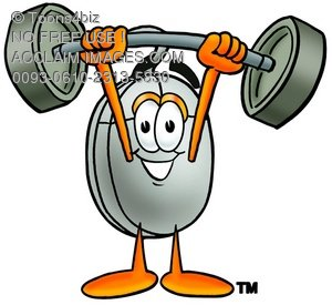 Computer Mouse Cartoon Character Lifting Weights