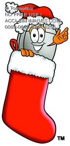 Computer Mouse Cartoon Character In a Christmas Stocking
