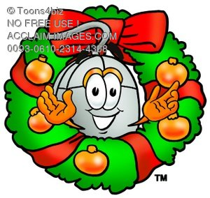 Computer Mouse Cartoon Character With a Christmas Wreath