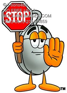 Computer Mouse Cartoon Character Holding a Stop Sign