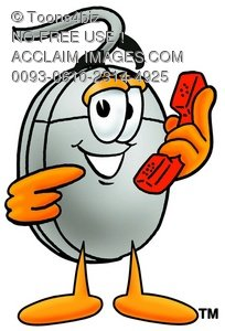 Computer Mouse Cartoon Character Holding a Phone
