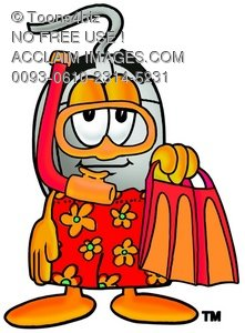 Computer Mouse Cartoon Character In Red and Orange Snorkel Gear