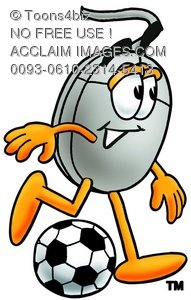 Computer Mouse Cartoon Character Playing Soccer