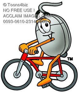Computer Mouse Cartoon Character Riding a Bike