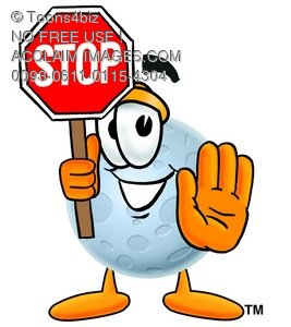 Moon Cartoon Character Holding a Stop Sign