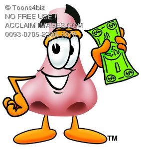 Cartoon Nose Character Holding Money