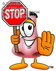 Cartoon Nose Character With Stop Sign