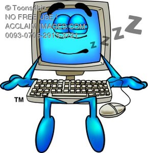 Cartoon Computer Character Sleeping