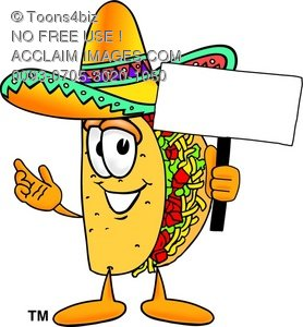 Cartoon Taco Character Holding a Sign