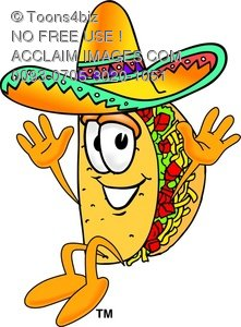 Cartoon Taco Character Jumping