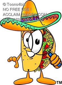 Cartoon Taco Character Holding a Magnifying Glass