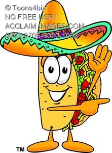 Cartoon Taco Character Pointing Sideways