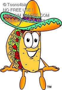 Cartoon Taco Character Sitting Down