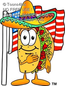 Cartoon Taco Character With American Flag