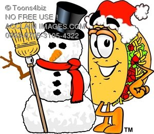 Cartoon Taco Character Wearing a Santa Hat While Standing Beside a Snowman in the Winter