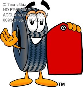Cartoon Tire Character Holding a Price Tag