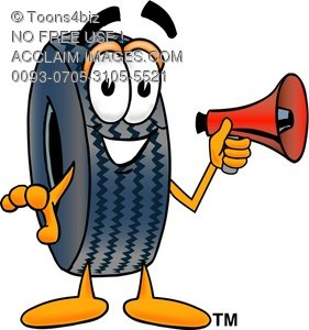 Cartoon Tire Character Holding a Megaphone