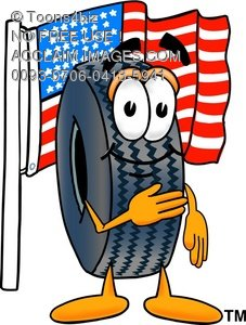 Cartoon Tire Character With American Flag