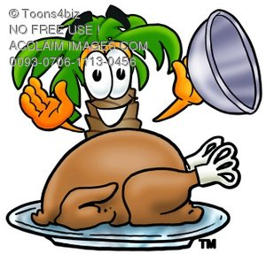 Cartoon Palm Tree With Thanksgiving Day Turkey