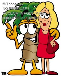 Cartoon Palm Tree Standing Beside a Woman