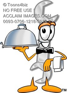 Cartoon Wrench Holding a Serving Tray Like a Waiter