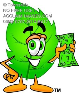 Cartoon Green Leaf Character Holding Money