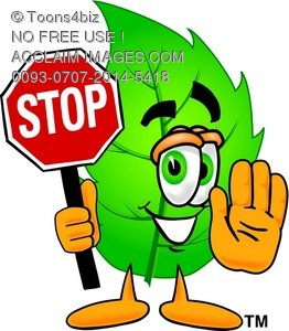 Cartoon Green Leaf Character Holding a Stop Sign