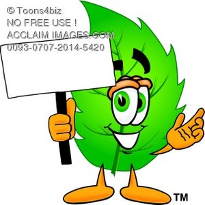 Cartoon Green Leaf Character Holding a Sign