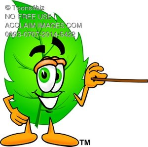 Cartoon Green Leaf Character Holding a Pointer