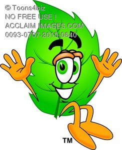 Cartoon Green Leaf Character Jumping