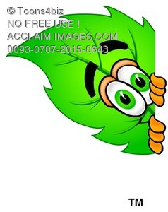 Cartoon Green Leaf Character Peeking