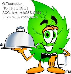 Cartoon Green Leaf Character Serving Food