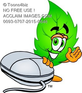 Cartoon Green Leaf Character With a Computer Mouse