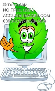 Cartoon Leaf Character in a Computer