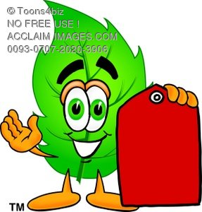 Cartoon Green Leaf Character With Price Tag