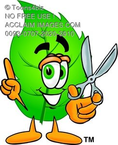 Cartoon Green Leaf Character Holding Scissors