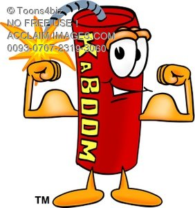 Cartoon Fire Cracker or Stick of Dynamite Flexing His Muscles