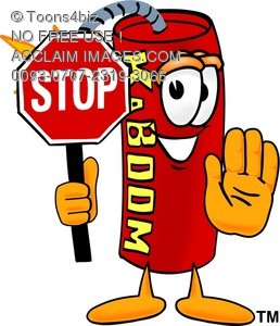 Cartoon Fire Cracker or Stick of Dynamite Holding a Stop Sign
