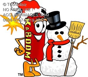 Cartoon Fire Cracker or Stick of Dynamite Beside a Snow Man
