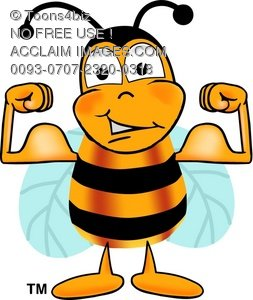 Cartoon Bumble Bee or Honey Bee Flexing His Muscles