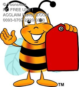 Cartoon Bumble Bee or Honey Bee Holding a Price Tag