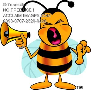 Cartoon Bumble Bee or Honey Bee Holding a Megaphone