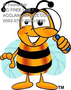 Cartoon Bumble Bee or Honey Bee Holding a Magnifying Glass