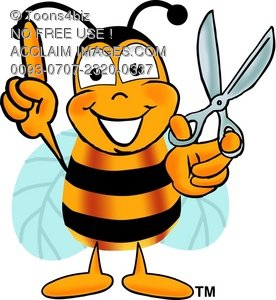 Toons4Biz Cartoon Bumblebee Character with Scissors Ready to Cut ...