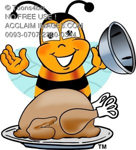 Cartoon Bumble Bee or Honey Bee With a Thanksgiving Turkey