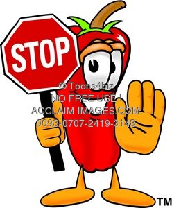 Cartoon Chili Pepper Holding a Stop Sign