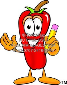 Cartoon Chili Pepper Holding a Pencil