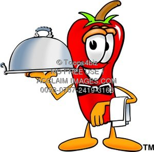 Cartoon Chili Pepper Serving Food