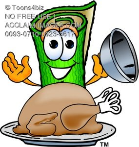 Carpet Cartoon Character With Thanksgiving Turkey Dinner