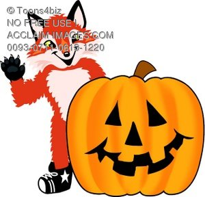 Fox Mascot Costume Character With Halloween Pumpkin